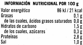 """Champiñones laminados en conserva """"Hacendado"""" Pack de 3 - Informació nutricional"""