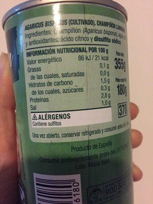 Champiñon laminado - Información nutricional - es