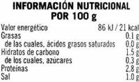 """Champiñones enteros en conserva """"Hacendado"""" - Informació nutricional"""