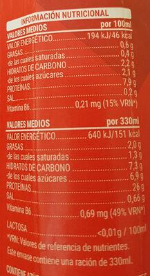 Bebida whey proteínas - Informació nutricional