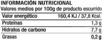 Zanahoria en tiras - Voedingswaarden