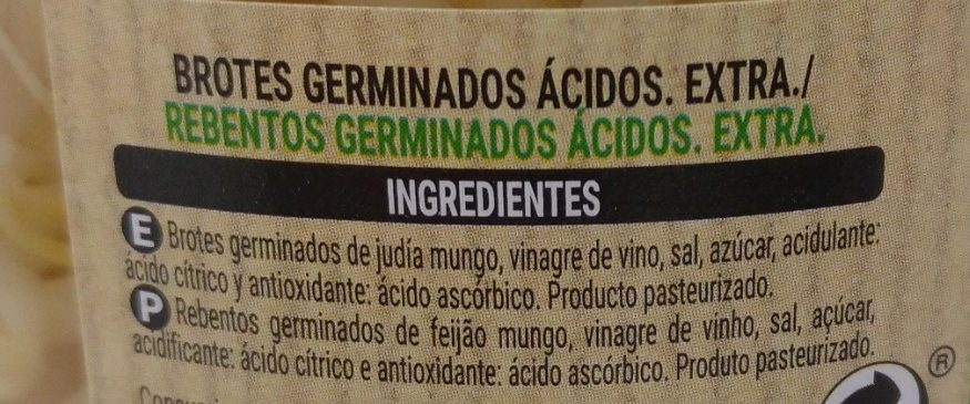 Brotes Germinados de soja - Ingredients - es