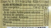 Apio en tiras - Información nutricional - es