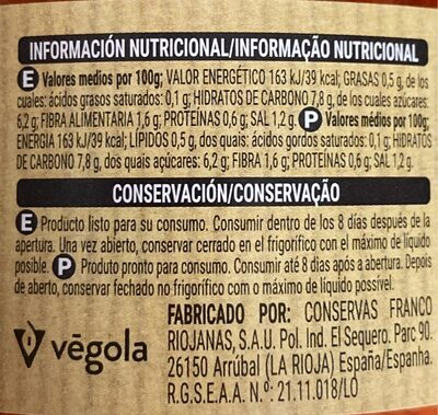 Zanahorias cenoura en tiras - Informations nutritionnelles - es