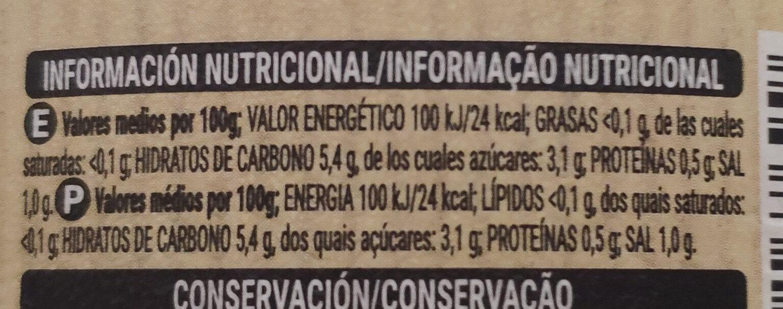 Zanahoria En Tiras Hacendado 400 G 5% grasa, 87% carbh, 8% prot. open food facts