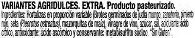 """Mezcla de encurtidos """"Hacendado"""" Ensalada china con mazorquitas - Ingredients"""