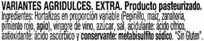 """Mezcla de encurtidos """"Hacendado"""" - Ingredientes"""