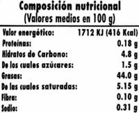 Mayonesa sin huevo ';Hacendado'; - DESCATALOGADO - Informació nutricional
