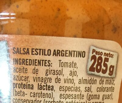 Sauce argentine - Ingredientes