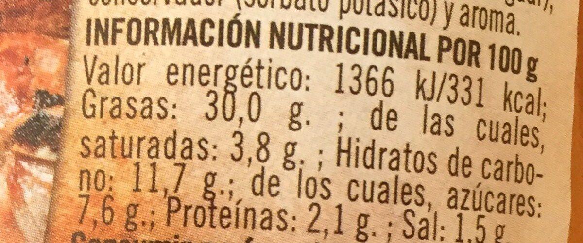 Sauce argentine - Información nutricional