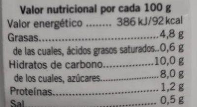 Fritada pisto - Información nutricional - es