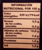 Tomate frito Hacendado - Información nutricional