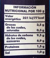 Tomate frito abrir y servir - Información nutricional - es