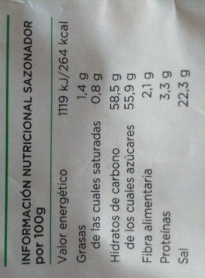 Sazonador Para Fajitas - Información nutricional