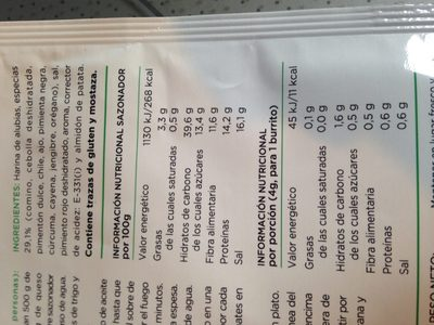 Sazonador para burritos - Ingredients