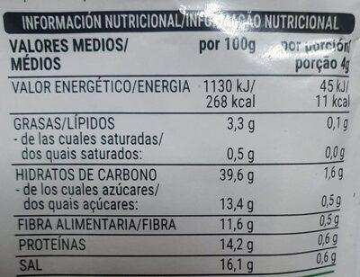 Sazonador para burritos sabor tex mex - Informació nutricional - es