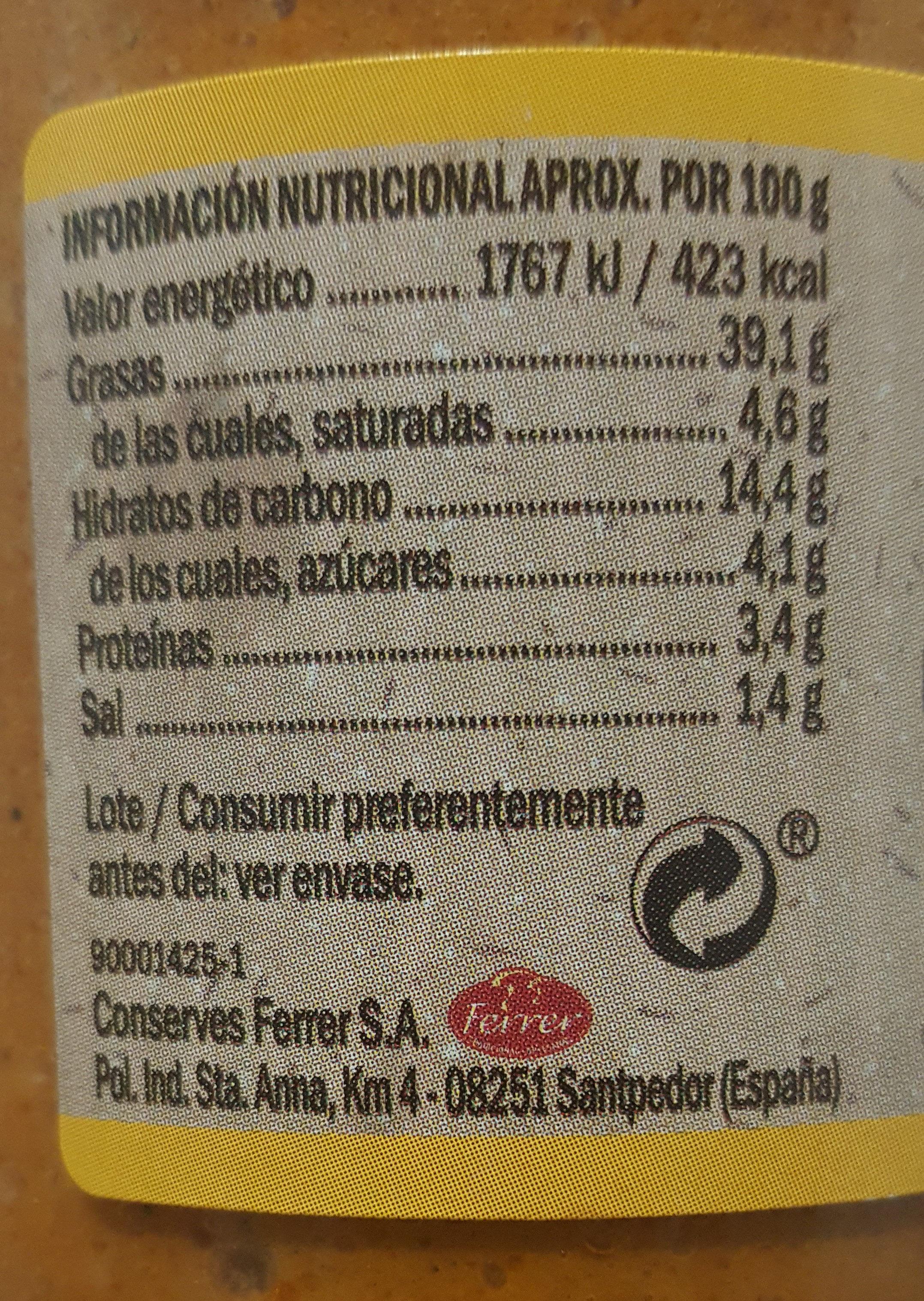 Salsa Romesco Hacendado - Información nutricional - es