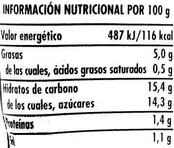 """Salsa brava """"Hacendado"""" - Información nutricional"""