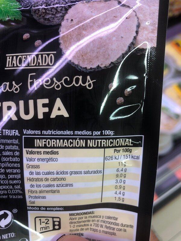 Salsa fresca Trufa - Informations nutritionnelles