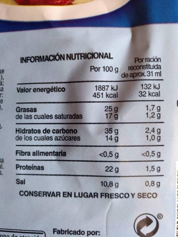 Salsa roquefort - Informations nutritionnelles - es