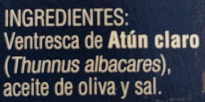 Ventresca de atún en Aceite de Oliva - Ingredients