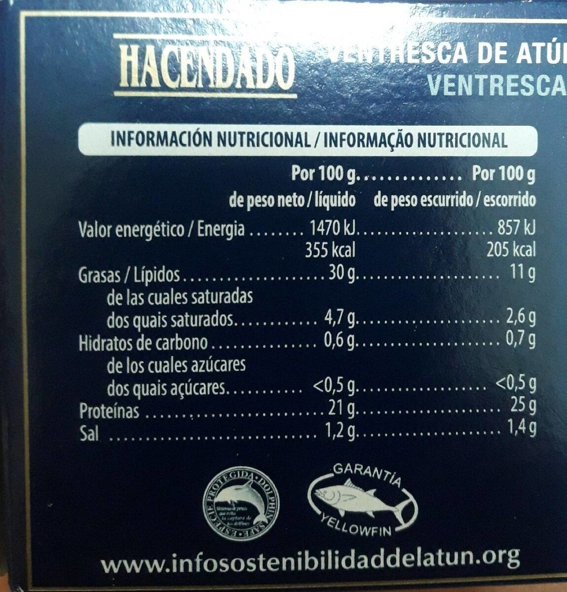 Ventresca de atún en Aceite de Oliva - Nutrition facts