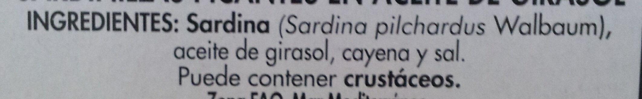 Sardinillas Picantes en Aceite de Girasol - Ingredients - es