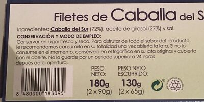 Filetes De Caballa en aceite de girasol - Ingredientes
