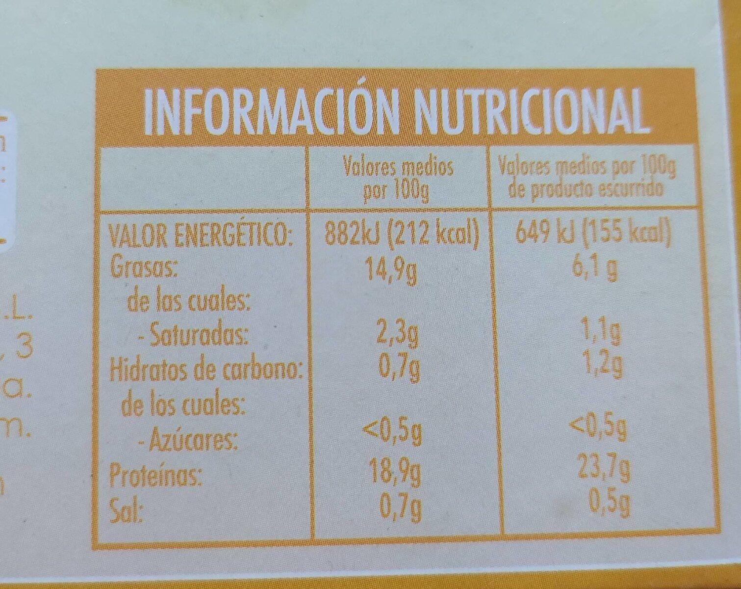 Filetes de caballa del sur en escabeche - Información nutricional - es