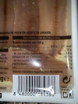 Sardinas ahumadas - Informació nutricional