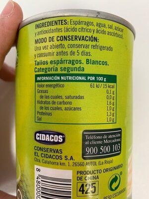 Tallos de esparrago - Información nutricional - es