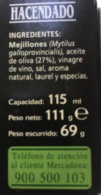 Mejillones en escabeche con aceite de oliva - Ingredients