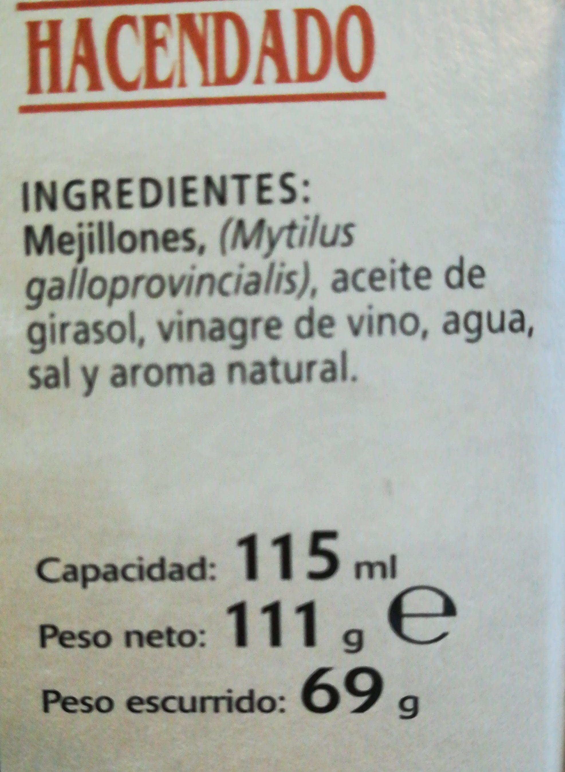 Mejillones en escabeche con aceite de girasol - Ingredientes