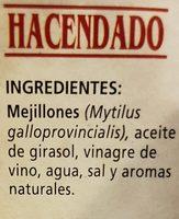 Mejillones de las rías gallegas Picantes en escabeche. - Ingredientes