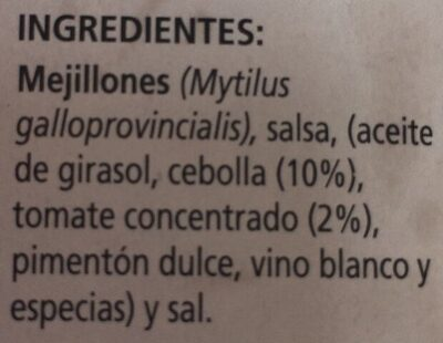 Mejillones en Salsa de Vieira - Ingredientes