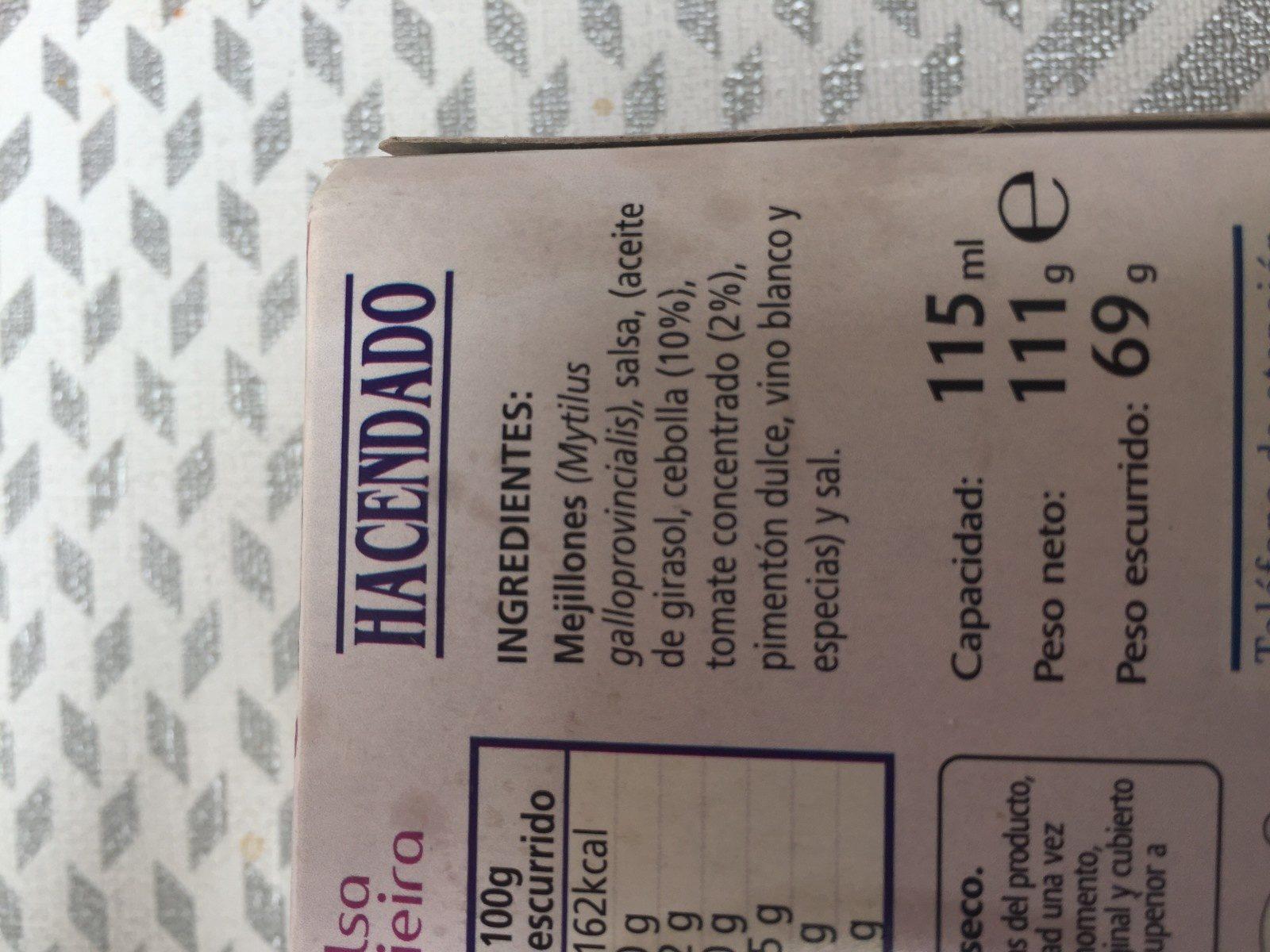 Mejillones en Salsa de Vieira - Ingrédients