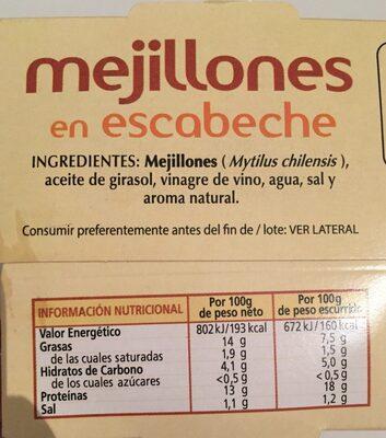 Mejillones en escabeche - Ingrédients