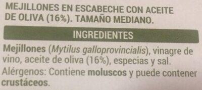 Mejillones en escabeche - Ingrédients - es