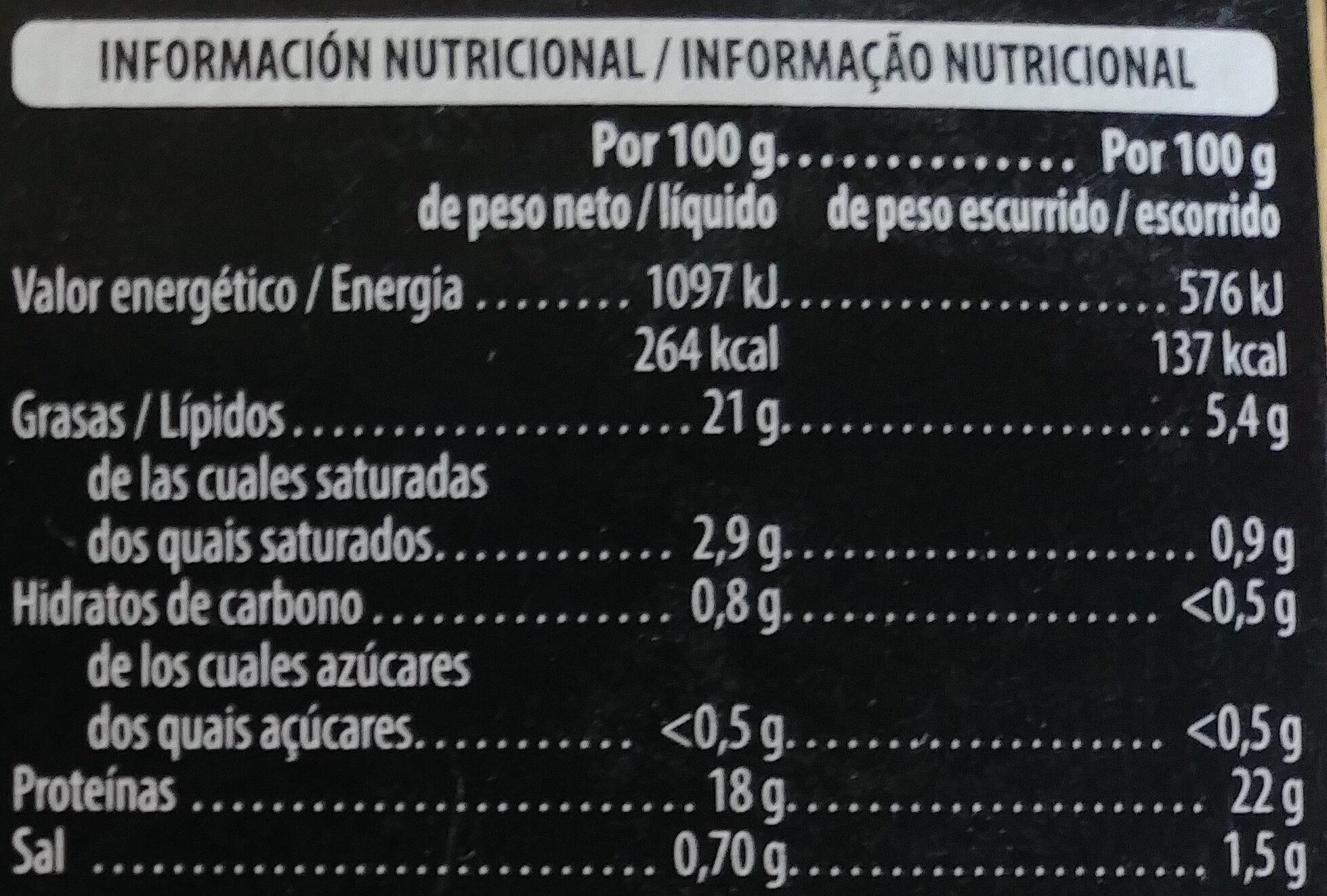Pulpo en aceite de oliva - Informació nutricional - es