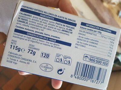 Chipirones rellenos enteros - Ingredientes