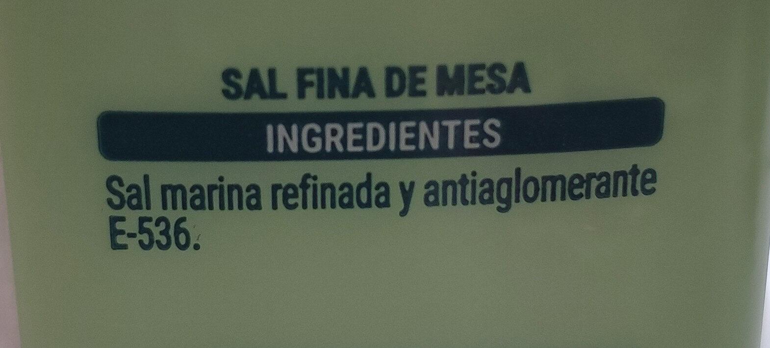 Sal fina - Ingredientes - es