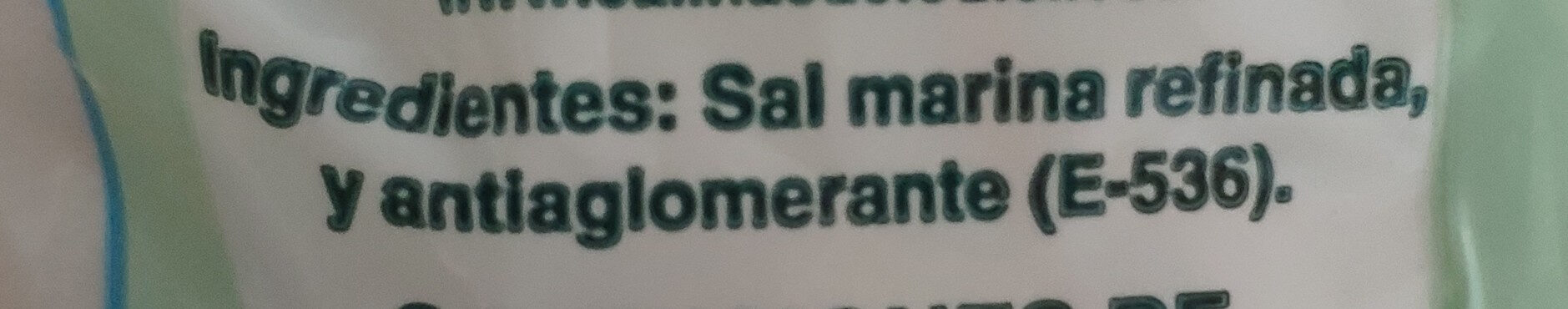 Sal fina - Ingredientes - es
