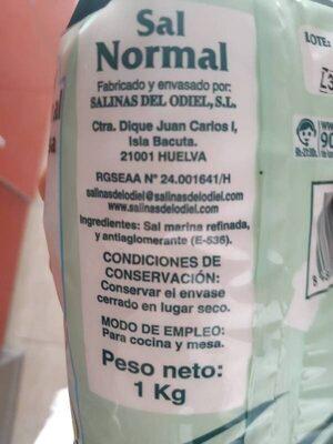 Sal normal de mesa - Ingredientes - es