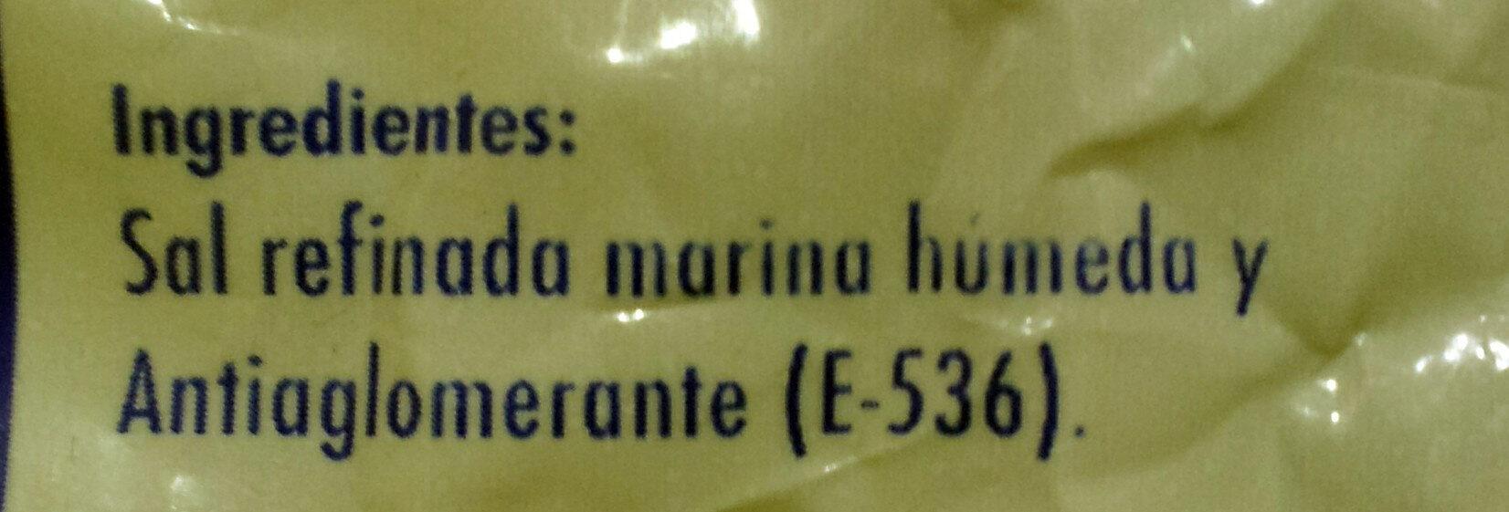 Sal para hornear gruesa - Ingredientes - es