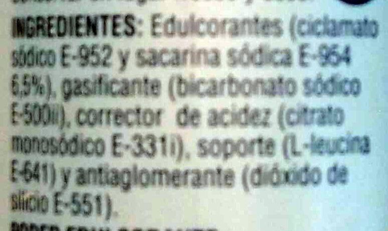 Ciclamato y sacarina - Ingredientes - es