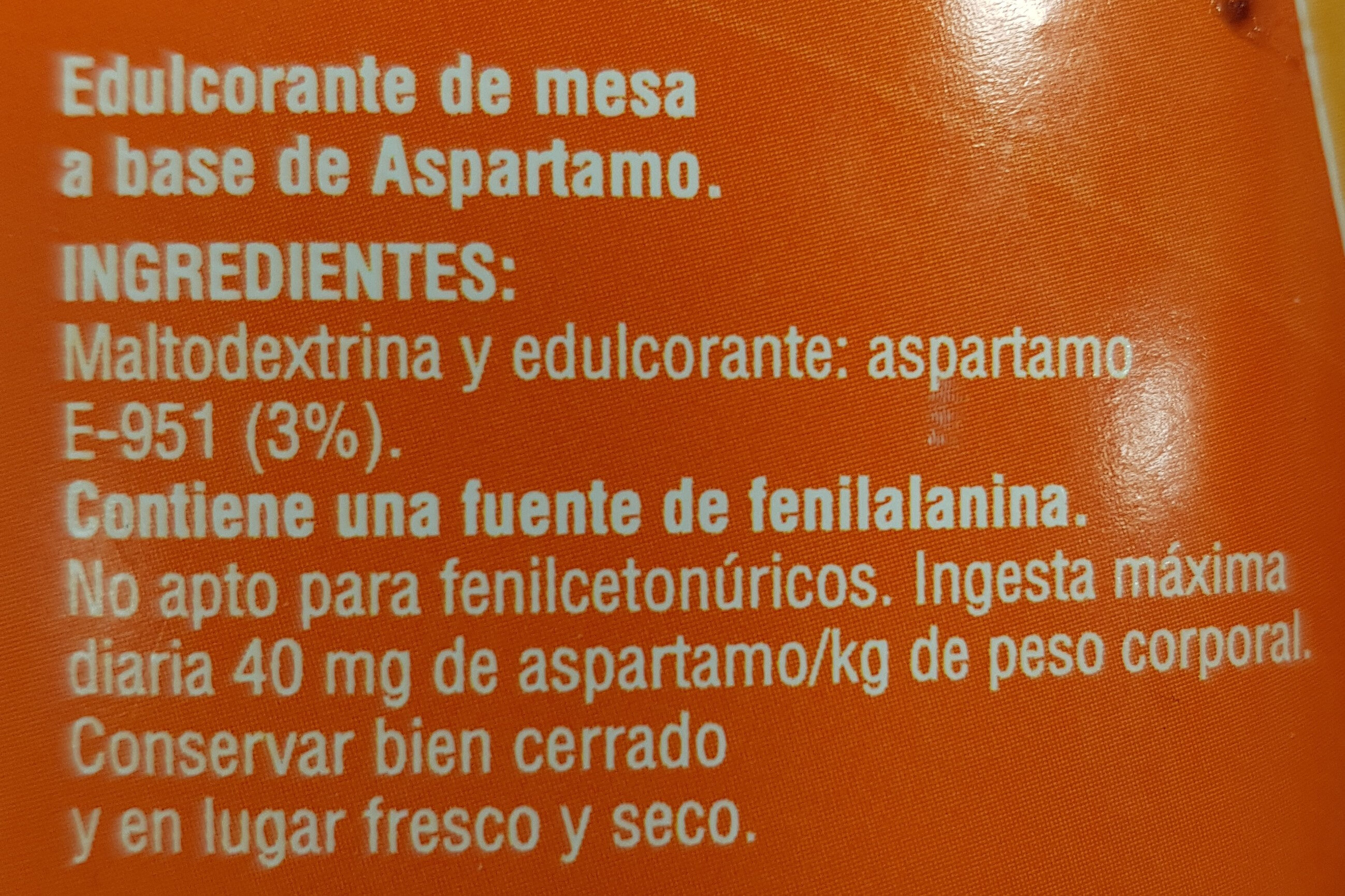 Aspartamo - Ingredientes - es