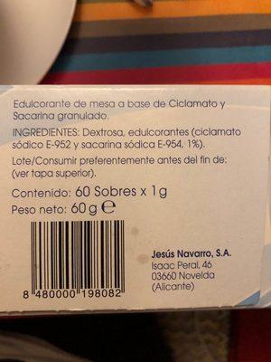 Edulcorante con sacarina y ciclamato en sobres - Ingrédients