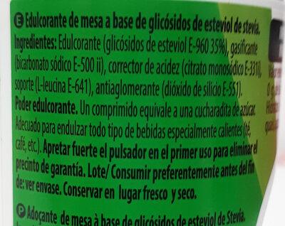 Stevia en pastillas - Ingredientes - es