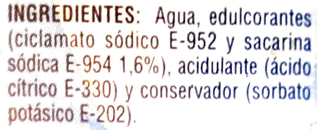 Ciclamato y Sacarina - Ingrédients