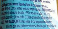 Ciclamato y sacarina líquida - Ingrediënten - pt